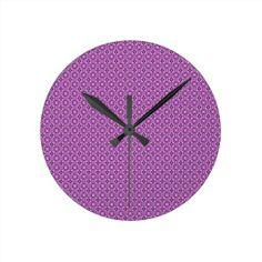 Fancy Purple Round Wallclock!  #zazzle #store #pattern #gift #present #customize #simple http://www.zazzle.com/patternsbydww25921*