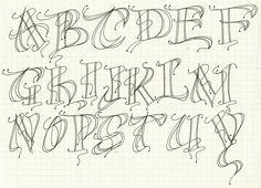 Modern decorated letter alphabet exemplar I created based on workshop sample.