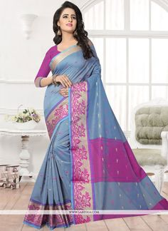 Its a master piece in its class glorifying your timeless beauty. Be ready to slip in the comfort zone of firozi banarasi silk silk saree. The lovely patch border and patch work work throughout the att...