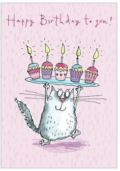 Happy Birthday - cat and cupcakes