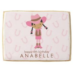 Little Cowgirl Western Birthday Party Jumbo Cookie