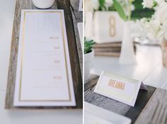 blind letterpressed menu with gold accents // photo by rusticwhitephotography.com, stationery by apdesignco.com