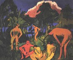 Ernst Ludwig Kirchner - Akte an der Sonne - Moritzburg;