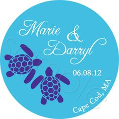 Wedding Favor Stickers - Sea Turtles Personalized Stickers - Favor Stickers, Weddings, Destination Wedding, Labels - Choice of Size. $6.00, via Etsy.
