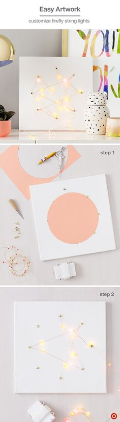 """Start with a 12x12 Hand Made Modern canvas. Trace an 8"""" circle onto cardstock and cut out with scissors. Center the circle on the canvas, and make 8 small equidistant holes at the edge of the circle. Place the point of a fastener through each hole and secure (remove the circle). Wrap the end of the Oh Joy! for Target's firefly lights around one fastener, then wrap the rest of the strand in a freeform pattern. (Don't pull the light strand too tight and hide the battery pack behind the…"""