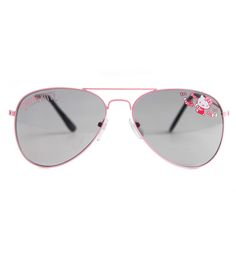 Keep the sun out and look cute with these Hello Kitty Kids Aviator Sunglasses. For an extra touch of cuteness, these sweet aviator glasses features a pink trim with Hello Kitty on the glass.