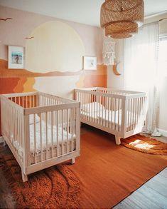 Twin Baby Rooms, Baby Bedroom, Twin Room, Nursery Twins, Nursery Room, Beach Theme Nursery, Surf Nursery, Themed Nursery, Nursery Decor