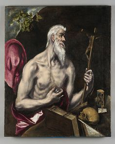 "El Greco (Domenikos Theotokopoulos) (Greek, Iráklion (Candia) 1540/41–1614 Toledo). Saint Jerome as a Penitent, ca, 1600. The Metropolitan Museum of Art, New York. On loan from The Hispanic Society of America, New York, NY | This work is featured in ""El Greco in New York,"" on view through February 1, 2015. #mustache #movember"