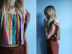 vintage silk multi-colored striped top