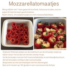 Mozzarellatomaatjes uit de Airfryer. 6 minuten, 160 graden. AK Wine Recipes, Snack Recipes, Cooking Recipes, Healthy Recipes, Snacks, Tapas, Air Fried Food, Air Frying, Air Fryer Recipes