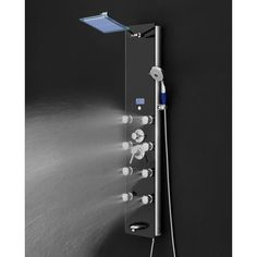 AKDY 52 in. Shower Panel System in Black Tempered Glass with Rainfall Shower Head, LED Display, Handshower, Tub Spout - - The Home Depot Shower Jets, Rainfall Shower, Rain Shower, Shower Valve, Shower Tower, Adjustable Shower Head, Waterfall Shower, Stainless Steel Hose, Shower Fixtures