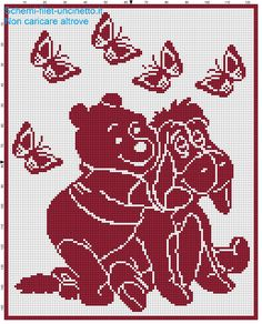 Copertina filet uncinetto Winnie the Pooh e Hi-ho schema filet uncinetto
