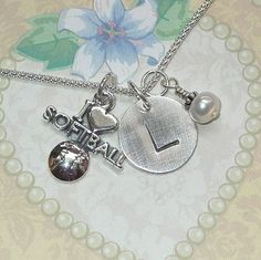 I Love Softball Hand Stamped Sterling Silver Initial Charm Necklace by DolphinMoonCreations $34