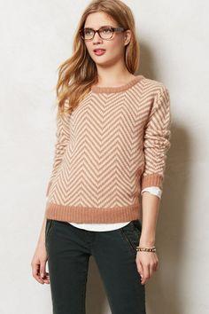 Anthropologie Chevron Pullover Sz M & XL, Slouchy Sweater Scoopneck Top By Ganni #Ganni #ScoopNeck