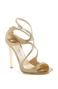 Obsessed with these shiny gold Jimmy Choo sandals.