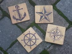 Nautical Woodburned Coasters by HopeandHaven on Etsy, $22.00