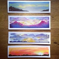 Sunset bookmarks. #bookmarks #watercolor #watercolors #painting #sunset