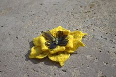 Yellow Black Wool Felted Brooch Jewelry Flower Merino Wool
