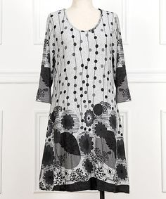 Another great find on #zulily! Gray & Black Floral Scoop Neck Dress - Plus #zulilyfinds