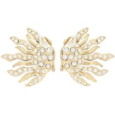 Oscar de la Renta Crystal-Embellished Clip-on Earrings ($245) ❤ liked on Polyvore featuring jewelry, earrings, gold, clip back earrings, gold clip earrings, gold jewellery, earring jewelry and clip earrings