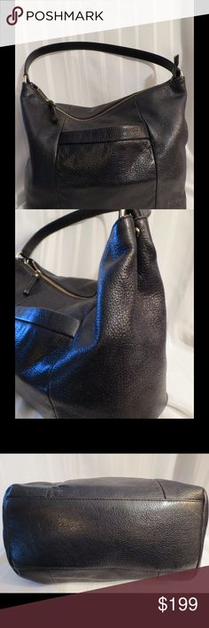 "Gorgeous Kate Spade Black Metallic Leather BAG Excellent Gently Used Condition  All of my items are absolutely positively guaranteed 100% genuine, I do not sell FAKE anything!  Fabulous black leather with a touch of metallic glimmer, super special!     Height: 13""  Width: 17""  Depth: 5""  Strap Drop 10""  No Trades (S079) kate spade Bags"