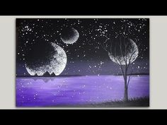 Acrylic Painting Step by Step Tutorial Mystical Moons Silhouette Painting Part 2 of 2 - YouTube