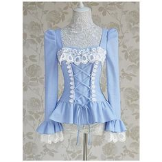 Blue Lacey Lolita Blouse ❤ liked on Polyvore featuring tops, blouses, blue top and blue blouse