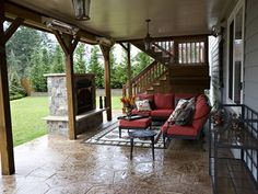 Furnished Outdoor Space Shown With USI's Under Deck Ceiling - Seattle Underdeck System Photos Under Deck Ceiling, Patio Under Decks, Decks And Porches, Back Patio, Backyard Patio, Under Deck Landscaping, Landscaping Tips, Back Deck, Outdoor Rooms