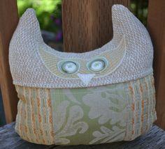 HOOTER Pillow Owl Pillow Sage Green Orange Yellow by BundledUpLove, $20.00
