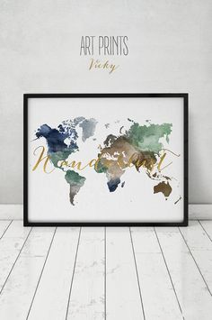 Wanderlust, World map watercolor print, world map poster, travel map, black & white with faux gold text, wedding guest book, ArtPrintsVicky.