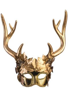 According to Greek Mythology, the Faun has the upper body of a man, and the lower body of a goat, as well as goat horns and ears. With this Golden Faun Masquerade Mask you can decorate yourself as an elegant goddess faun. With gold leaves embellishin. Mascarade Mask, Mens Masquerade Mask, Halloween Masquerade, Venetian Masquerade, Venetian Masks, Masquerade Ball, Masquerade Party Outfit, Masquerade Costumes, Elegant Masquerade Mask