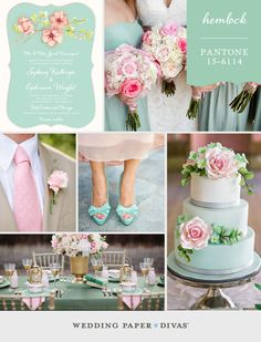 If you're planning a Spring wedding, Pantone Hemlock might be your perfect color. Pair this fresh mint green with pale pink and gold.