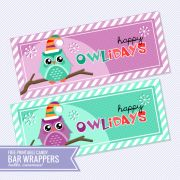 {Free Printable} Happy Owlidays Candy Bar Wrappers