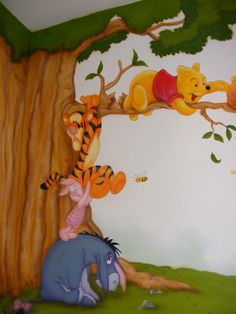 Winnie the Pooh wall mural. Nursery mural. Baby bedroom decor. #wallmural #winniethepooh #babybedroom #bedroomdecor