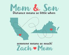 Gift for Son or Mom, Mother and Son Quote, Long Distance, Christmas Gift for Mother in Law, Mother and Kids, Children, Coral, Blue, Digital