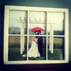 frame wedding picture using old window.