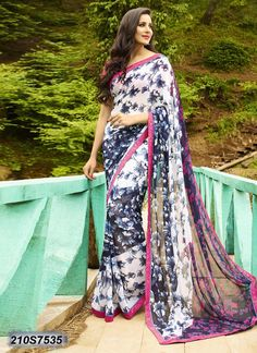 Get yourself look like a Diva in this impressive Multicolor printed Saree with Georgette fabric. Georgette Fabric, Georgette Sarees, Silk Fabric, Latest Indian Saree, Indian Sarees, Party Wear Kurtis, Elegant Saree, Casual Saree, Printed Sarees