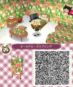 Rose Floral Wallpaper - Animal Crossing New Leaf Animal Crossing 3ds, Animal Crossing Qr Codes Clothes, Animal Games, My Animal, Pattern Leaf, Acnl Paths, Motif Acnl, Code Wallpaper, Ac New Leaf