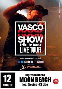 """VASCO ROCK SHOW live at MOON BEACH  Lungomare Stefano Pugliese, Catanzaro Lido - Loc. Giovino ♪♫ """"SABATO 12 AGOSTO 2017, start 23.30"""" ♫♪ *** FREE ENTRY ***  --------------------------------------------------------------  """"Vasco Rock Show"""" è una Tribute Band catanzarese dedicata a Vasco Rossi che, grazie alla passione ed alle capacità artistiche dei componenti della Band, rende ogni suo spettacolo un successo riproponendo i brani più """"energici"""", nonché le romantiche ed intramontabili…"""