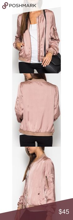 Dusty Rose Satin Bomber Jacket Brand new! Super cute & and trend this year! 15% off of bundles! FEEL LIKE MAKING AN OFFER? Please do it through the make an offer feature as I will no longer negotiate prices in the comments section. PRICE IS FINAL ON ITEMS $15 or less unless bundled. Hannah Beury Jackets & Coats