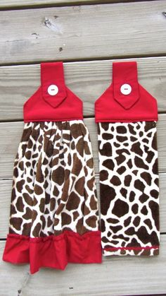 Set of 2  Giraffe & Red  Hanging Kitchen Towels by ChrystiCorner, $19.50