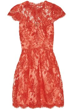 ISSA coral silk and lace dress