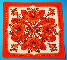 Swedish retro vintage 1960s printed cotton conventionalized flower tablet tabelcloth with orange/ red motive/ frame on white bottomcolor