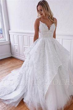 Elegante Brautkleider Elegant Wedding Dresses A Line How To Dress For A Wedding, V Neck Wedding Dress, Luxury Wedding Dress, Classic Wedding Dress, Wedding Dress Trends, Backless Wedding, Modest Wedding Dresses, Designer Wedding Dresses, Bridal Dresses