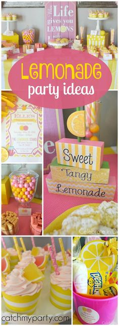What a pretty pink and yellow pink lemonade girl birthday party! See more party ideas at Catchmyparty.com!