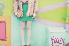 colorful, green skirt, playful, faux fur
