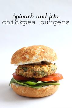 Spinach and feta chickpea burgers - really quick and easy to make, and just delicious!