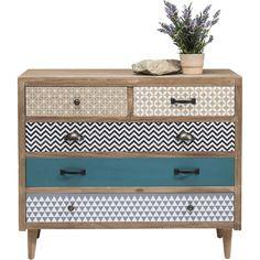Commode en bois aux cinq tiroirs dépareillés - Capri - Kare Design
