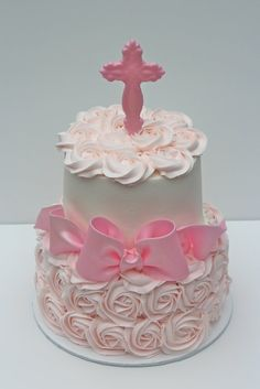 Baptism Cake. Would want a peach color instead of pink