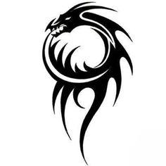 black and white tattoo designs Tattoo Dragon And Phoenix, Tribal Dragon Tattoos, Dragon Tattoo Designs, Tribal Tattoo Designs, Wolf Tattoos, Star Tattoos, Body Art Tattoos, New Tattoos, Tribal Animal Tattoos